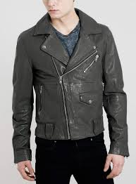 topman grey leather biker jacket in gray for men grey lyst