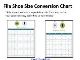 Fila Shoe Size Chart Buy Your Favorite Shoes By Using Shoe Size Conversion Chart
