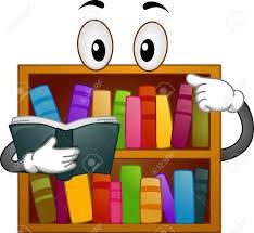 ilration mascot ilration of a bookshelf reading a book