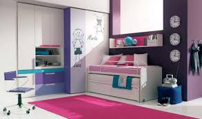 Cool Furniture For Teenage Bedroom With White And Purple Colors  L