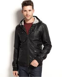 calvin klein jeans faux leather hooded er jacket