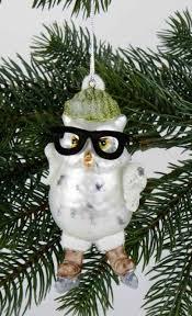 Baumschmuck Eule Mit Brille Baumhänger Christbaumschmuck Weihnachtsbaumkugel