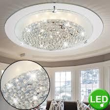 Elegante Glas Decken Lampe Schlafzimmer Chrom Leuchte Steine