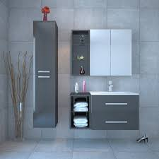 wall hung grey bathroom vanity unit and basin