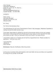 Cover Letter For Admin Clerk Cover Letter Samples For Admin Clerk Administrative Clerk Cover