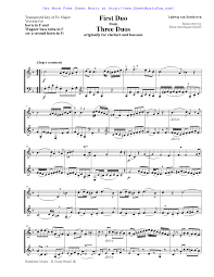 sheet music for duets for clarinet and bassoon woo  3 duets for clarinet and bassoon woo 27 beethoven ludwig van sheet