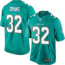 Game Jersey Football Men's 32 Home3330038 Green Drake Kenyan Aqua Miami Dolphins