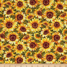 Sunflower Pattern Simple Green Cotton Sunflower Fabric