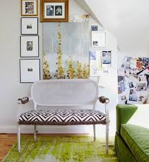 attic room with green overdyed rug