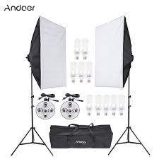 andoer photo equipment photography studio light lighting tent kit with softbox light socket 45w