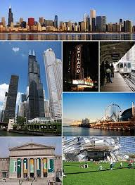 clockwise from top downtown the chicago theatre the l navy