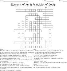 Elements And Principles Of Design Crossword Elements Of Art Principles Of Design Crossword Wordmint