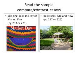 english week prepare for quiz quiz week  7 the sample compare contrast essays bringing back the joy of market day pg 233 or 221 backyards old and new pg 237 or 225