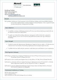 Windows Resume Template Fascinating Sample Resume For Windows Server Administrator Fresher Systems