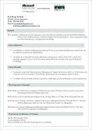 Windows Resume Template Fascinating Sample Resume For Windows Server Administrator Fresher Systems