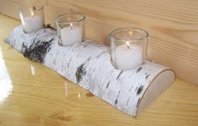 half log candle holder