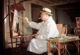 winston and the art of war painting as a pastime by winston s  secret weapon winston relaxes cigar and paintbrush