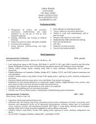 Engineering Technician Resumes A Professional Resume Template For An Instrumentation Technician