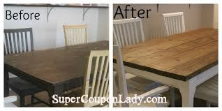 How to refinish a dining room table White Diy Refinishing Dining Room Table Chairs Super Coupon Lady Pinterest Diy Project Refinishing Dining Room Table Chairs Diy