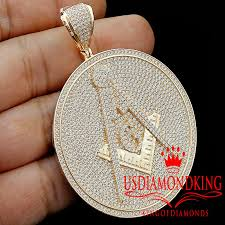 details about custom piece real sterling silver free mason masonic pendant rose gold medallion