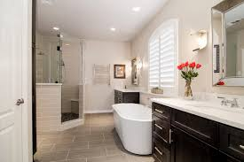 ... Bathroom, Master Bath Remodel With Elegant Design Tubs Also Dark Modern  Vanity Large Squre Sink ...