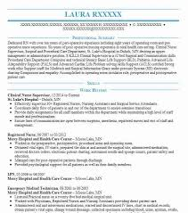 nursing supervisor resumes clinical nurse supervisor resume sample livecareer