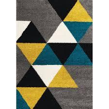 2 x 4 x small geometric gray yellow and teal blue rug maroq