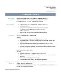 Vet Tech Resume Template Cover Letter Sample Veterinary Technician