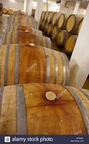 storage oak wine barrels. Stellenbosch Wine Area, Zevenwacht Winery. Typical Oak Storage Barrels