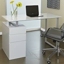 Appealing Computer Desks For Small Spaces Manufactured Wood And Steel  Material White Gloss Finish Drawer File