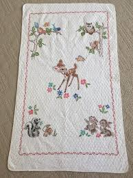 764 best BABY QUILT VINTAGE IDEA´S images on Pinterest | Baby ... & Vintage Bambi & Friends Baby Quilt, Hand Embroidered Crib Blanket, Paragon Adamdwight.com