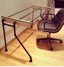 diy computer table with plumbing pipes