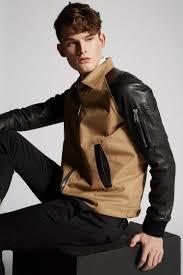 dsquared2 cotton twill leather sleeves boxy er jacket kaban man