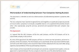 Partnership Agreement Between Companies Memorandum Of Understanding Template Starting Business