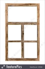 architectural details vintage simple window wooden frame isolated on white background