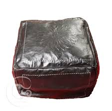 black square leather ottoman