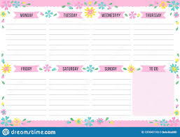 Cute Weekly Planner With Drawn Flower Stock Vector Illustration