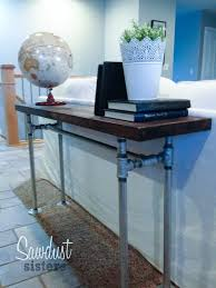 Easy DIY Sofa Table with pipe frame Sawdust Sisters