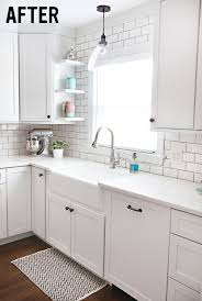 for our backsplash i really want to do a white subway tile with gray grout