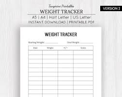 Printable Weight Chart Tracker Weight Loss Tracker Weight Loss Planner Printable Weight Loss Chart Weight Loss Fitness Tracker A5 A4 Us Letter Half Letter Sizes