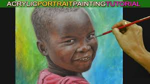 acrylic portrait painting tutorial of a boy with dark skin tone or afric