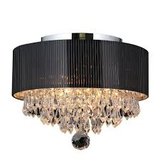 gatsby collection 3 light crystal and chrome ceiling light with black