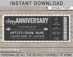 Printable Concert Ticket Anniversary Gift Template Surprise Gift