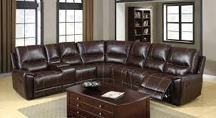 FA6559  KEYSTONE BROWN BONDED LEATHER RECLINING SECTIONAL WITH CUP HOLDERS  AND STORAGE Recliner With Cup Holder And Storage P53