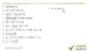 solving for x quadratic equations 𝑥 4 5x 2 6 0 x 4 4x 2 5 igcse gcse maths as level maths