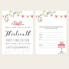 13th Party Invitations Teen Party Invitations Pastel Typography