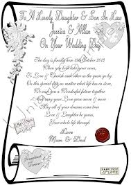 daughter & son in law wedding day personalised scroll laminared Wedding Card Verses For Son And Daughter In Law daughter & son in law wedding day personalised scroll laminared or parchment ebay wedding card messages for son and daughter in law
