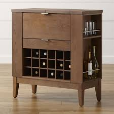Classic polished wooden entryway bench Indoor Parker Spirits Bourbon Cabinet Crate And Barrel Bar Carts And Bar Cabinets Crate And Barrel
