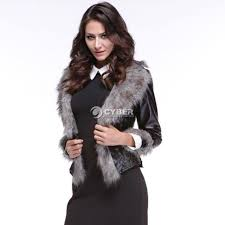 womens winter coat slim full sleeve faux fox fur jackets synthetic leather dz