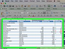 How To Make A Monthly Budget On Excel How To Make A Personal Budget On Excel With Pictures Wikihow